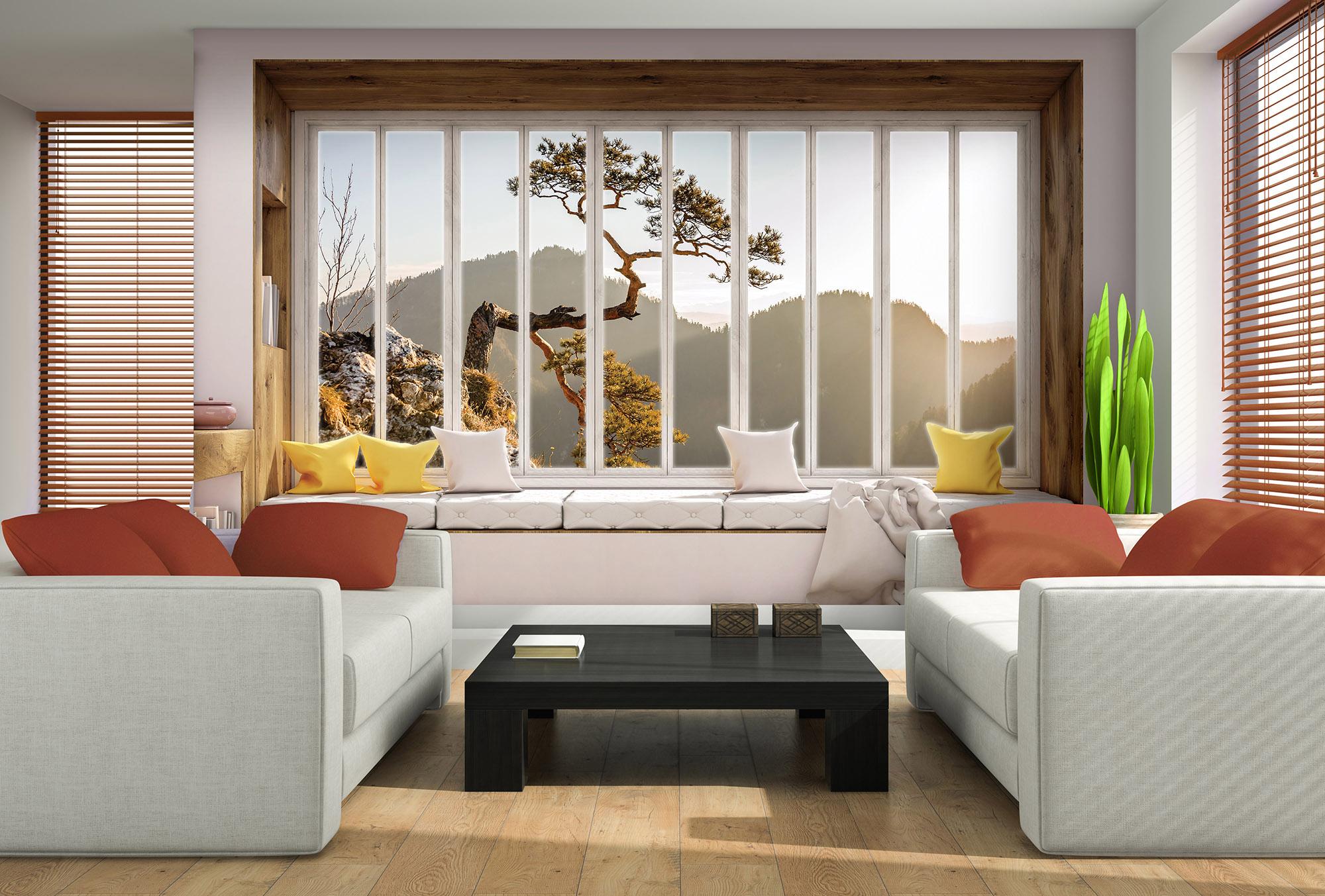 Interior of the modern design room with orange jalousie 3D rendering