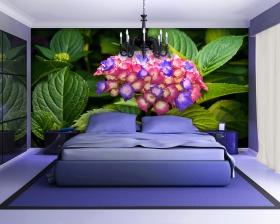 Modern luxury elegant bedroom interior, chandelier front